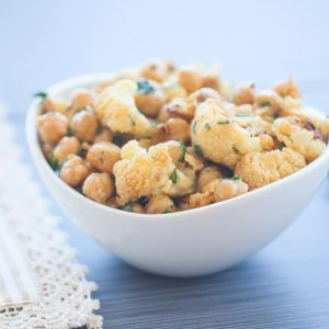 Roasted Cauliflower, chickpeas, side dish, thanksgiving, vegan, healthy