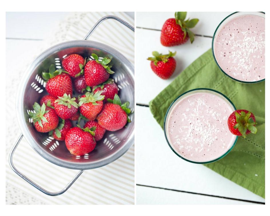 strawberry, banana, smoothie, drinks, protein, cashews, gluten free, vegan