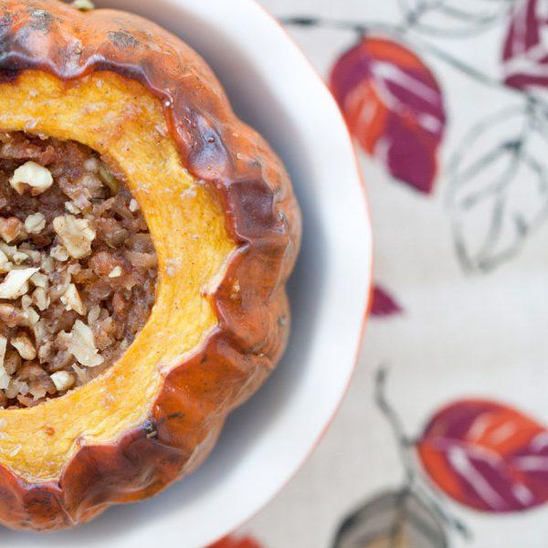 autumn delight, high fiber, acorn squash, honey, fall recipes, dessert, vitamins, healthy