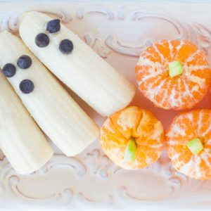 halloween, trick or treat, banana ghosts, pumpkins, healthy snack, kids, sugar free, october