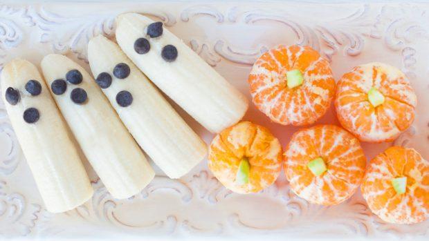 halloween, trick or treat, banana ghosts, pumpkins, healthy snack, kids, sugar free, october