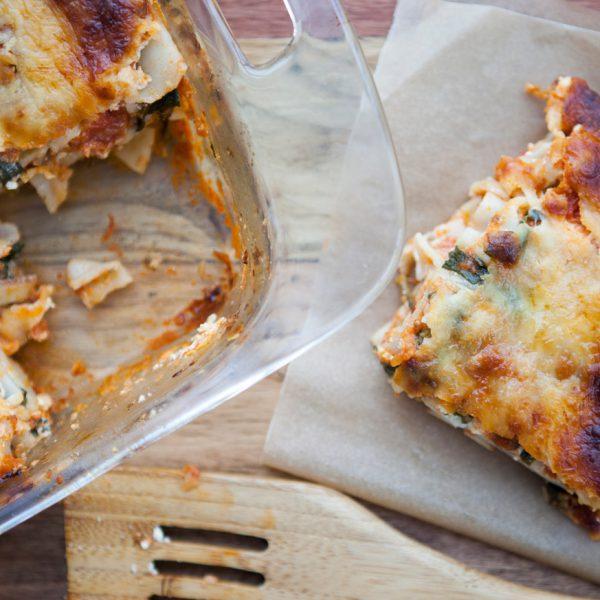 lasagna, gluten free, vegetarian, dinner, holidays, pasta, spinach, mushrooms