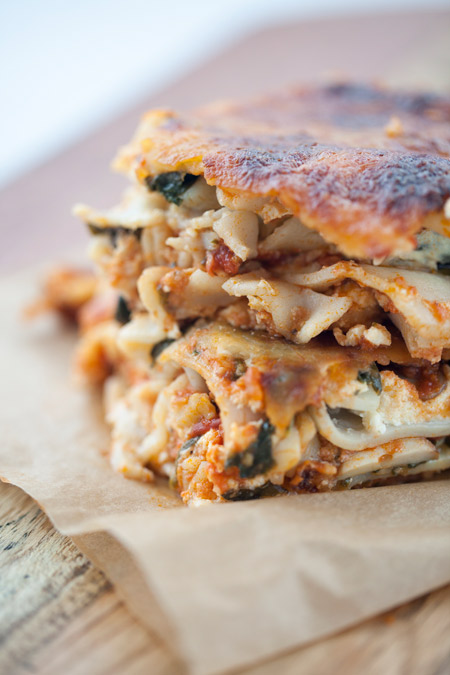 lasagna, gluten free, vegetarian, dinner, holidays, pasta, spinach, mushrooms