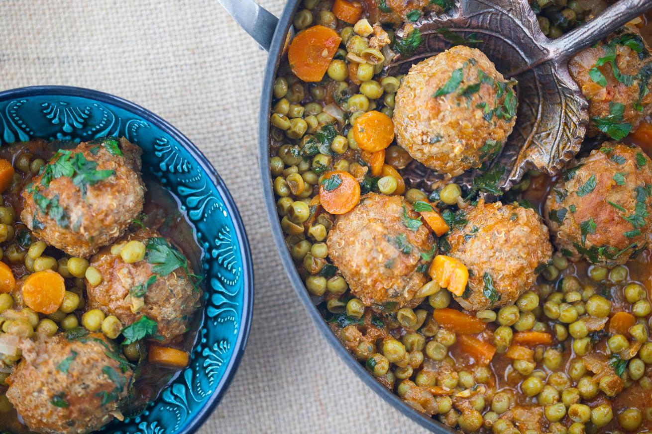 meatballs, stew, sweet peas, lunch, dinner, gluten free, beef, comforting