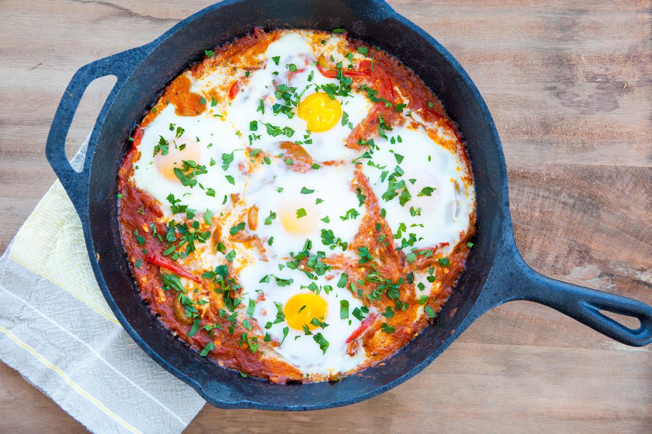 Shakshuka, eggs, baked eggs, Moroccan, middle eastern, Israeli, cumin, flavors, gluten free, vegetarian, paleo, feta, breakfast
