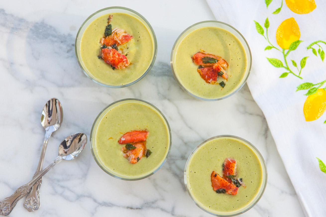 soup, pea soup, lobster, chilled soup, summer soups