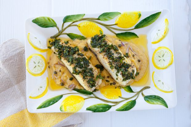 summer recipe, fresh, fish, seafood, halibut, fava puree, healthy, gluten free, lunch, dinner