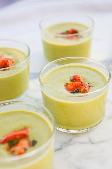 sweet peas, vegan, soup, summer dish, lobster, gluten free, refreshing, appetizer