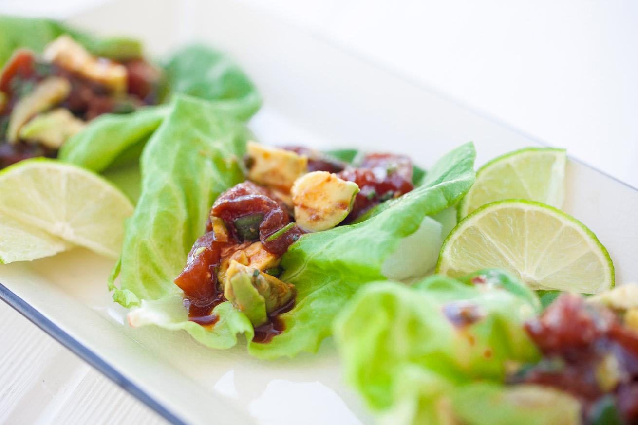 main, tuna, ahi tuna, lettuce wraps, taco, seafood, low carb