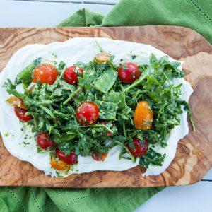 ricotta, cherry tomatoes, pesto, salad, gluten free, vegetarian, healthy