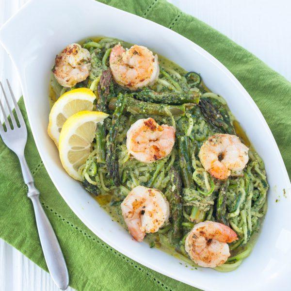 noodles, zoodles, pasta, pesto, prawns, seafood, paleo, gluten free, zucchini, asparagus, vegetarian