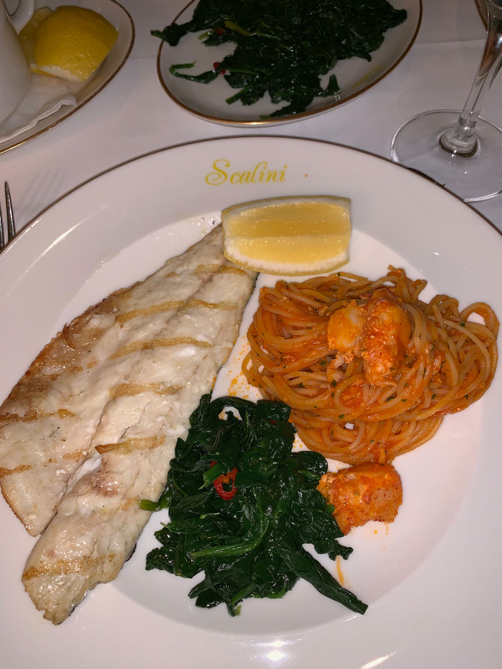scalini, dubai, restaurant, travel, fish, seabags, spinach, lobster, spaghetti, pasta