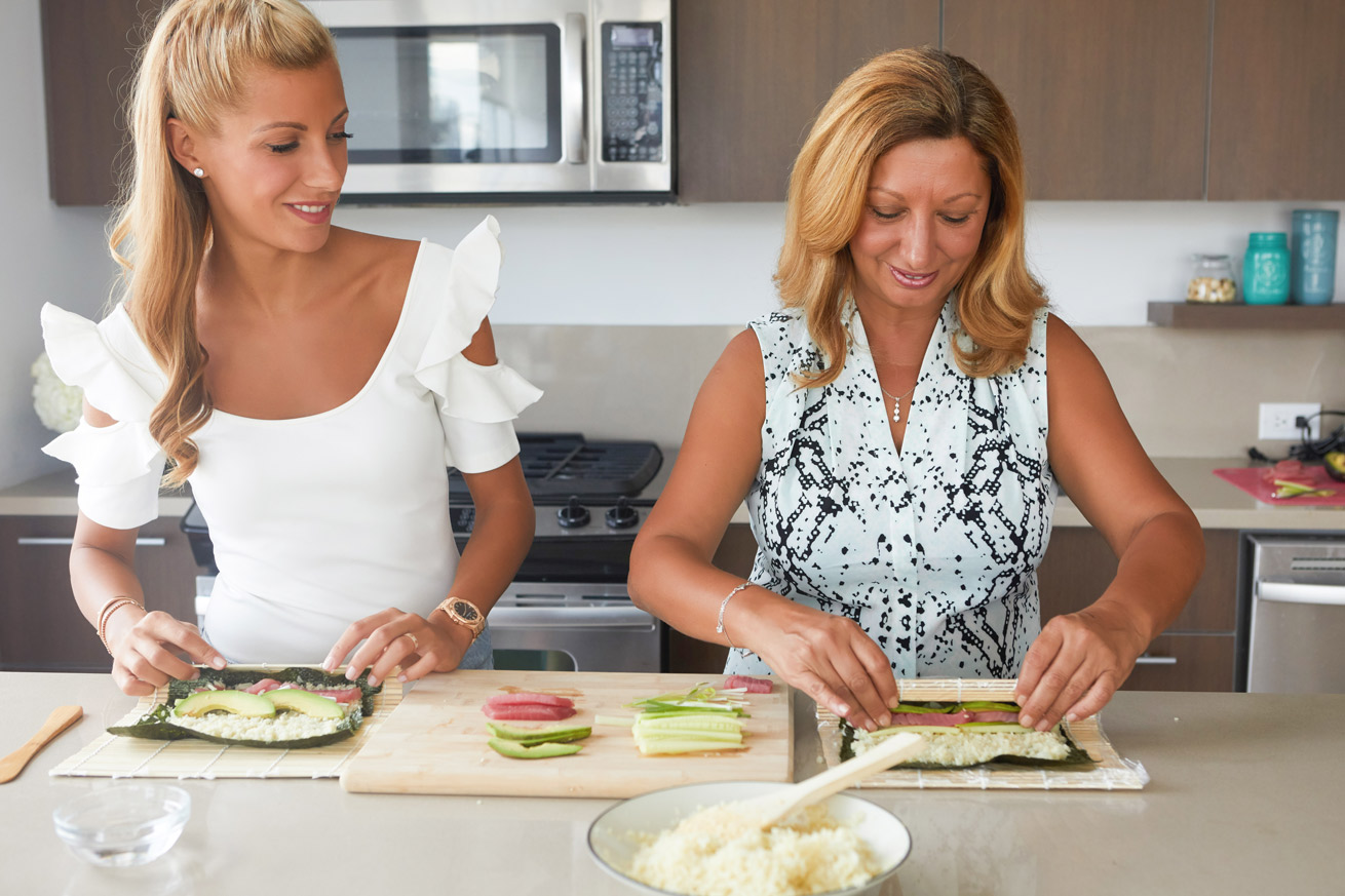 sushi, cauliflower, mom, me, nedi, kitchen