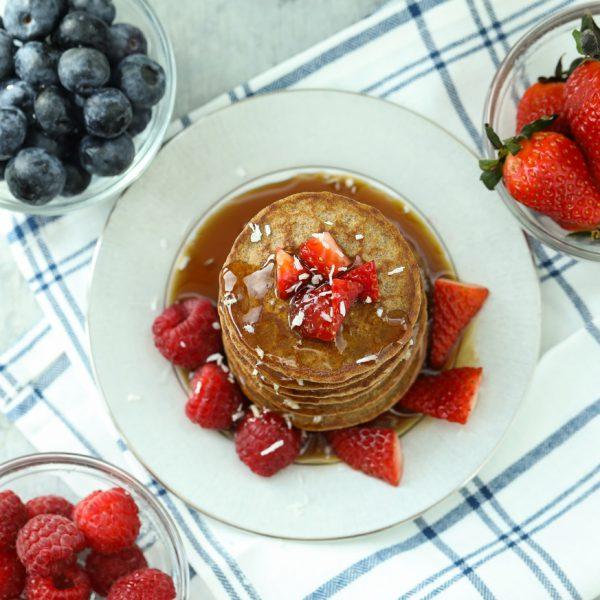 gg pancakes, berries