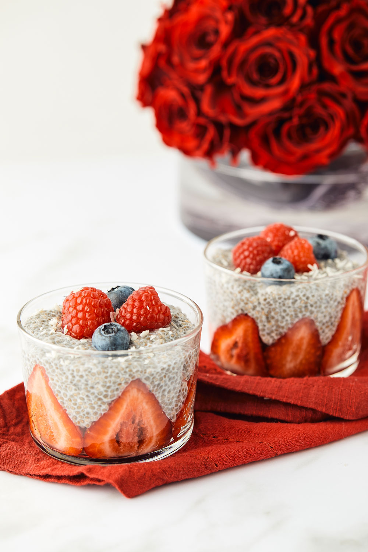 chia seed pudding, vegan, fiber, berries, coconut, breakfast