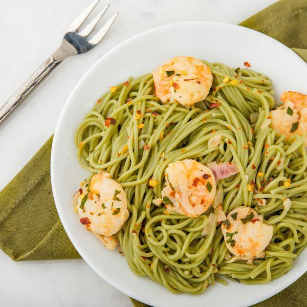 matcha, spaghetti, pasta, carbs, shrimp