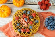 pumpkin waffle, eggs, fiber, fall