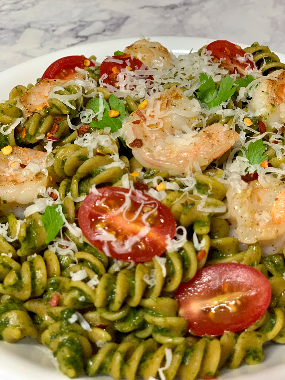 tolerant-shrimp, gluten free, pasta, pesto, lentil