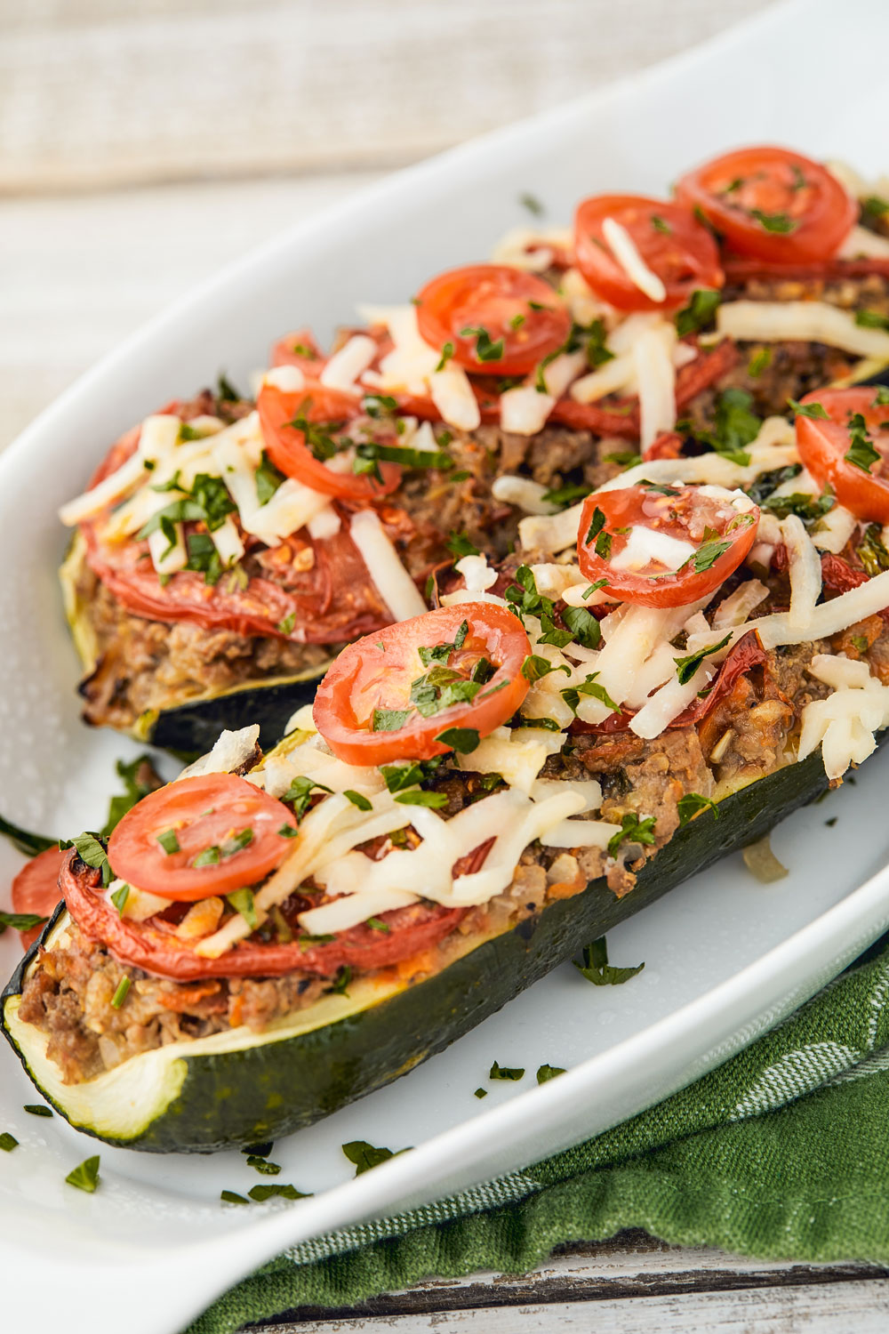 zucchini boats, beef, gluten free, low carb