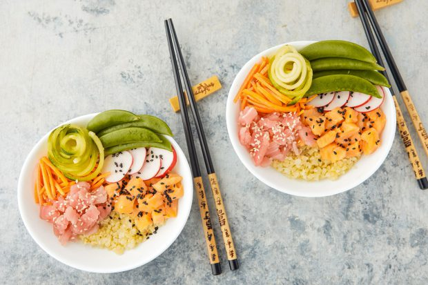 tuna, poke, bowl, cauliflower rice, seafood