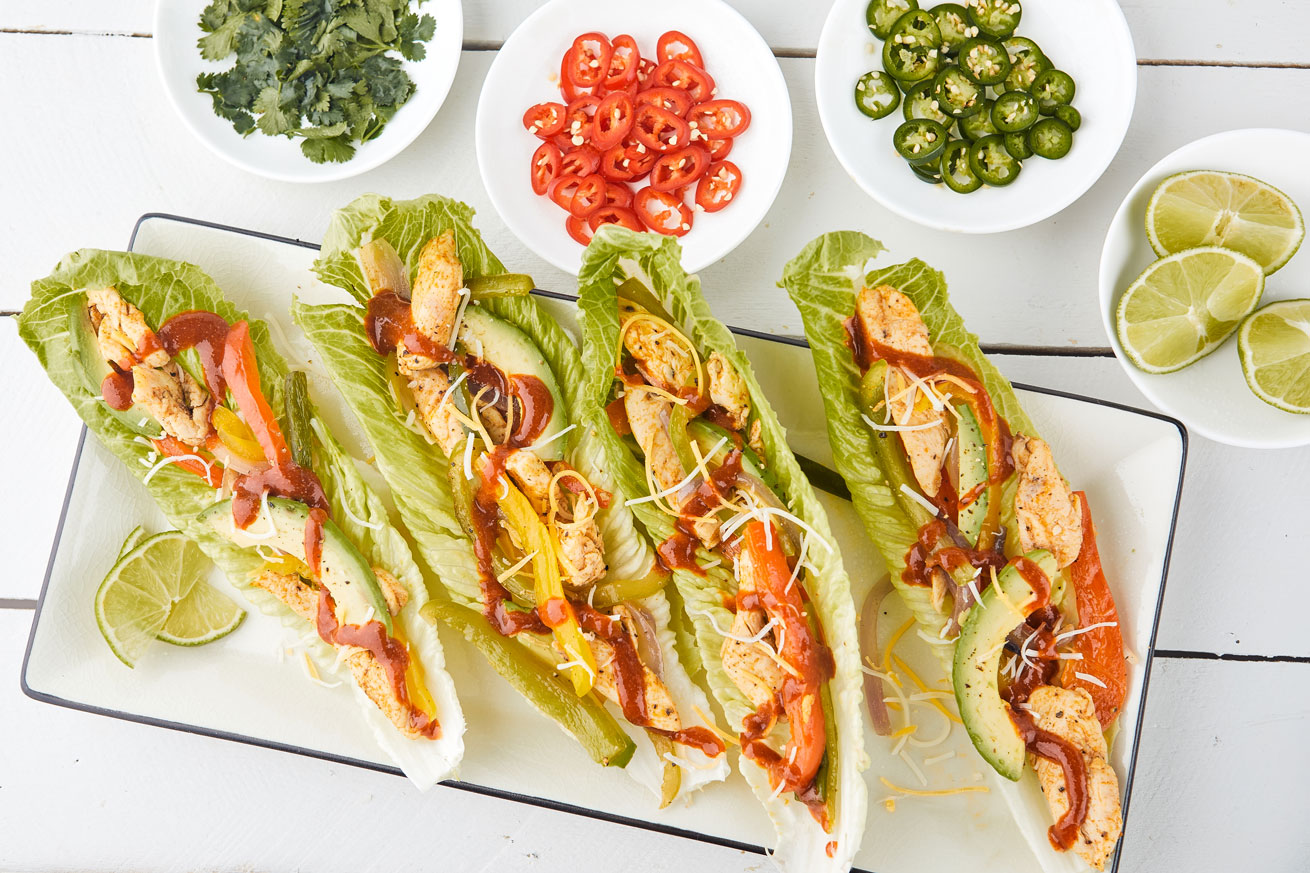 chicken-fajitas-lettuce wraps-romaine lettuce-low carb