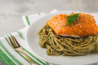 pesto, fettuccine, edamame pasta, salmon, high fiber