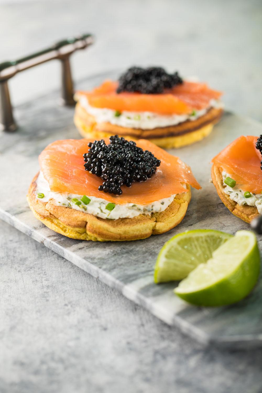 blini, caviar, pancakes, salmon