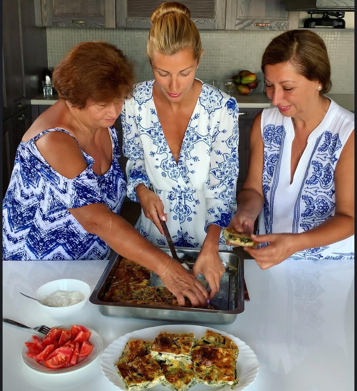 grandma, spinach pie, spanakopita, greek food