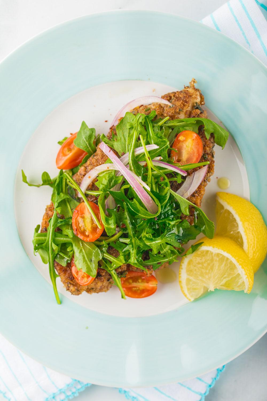 chicken, arugula, salad
