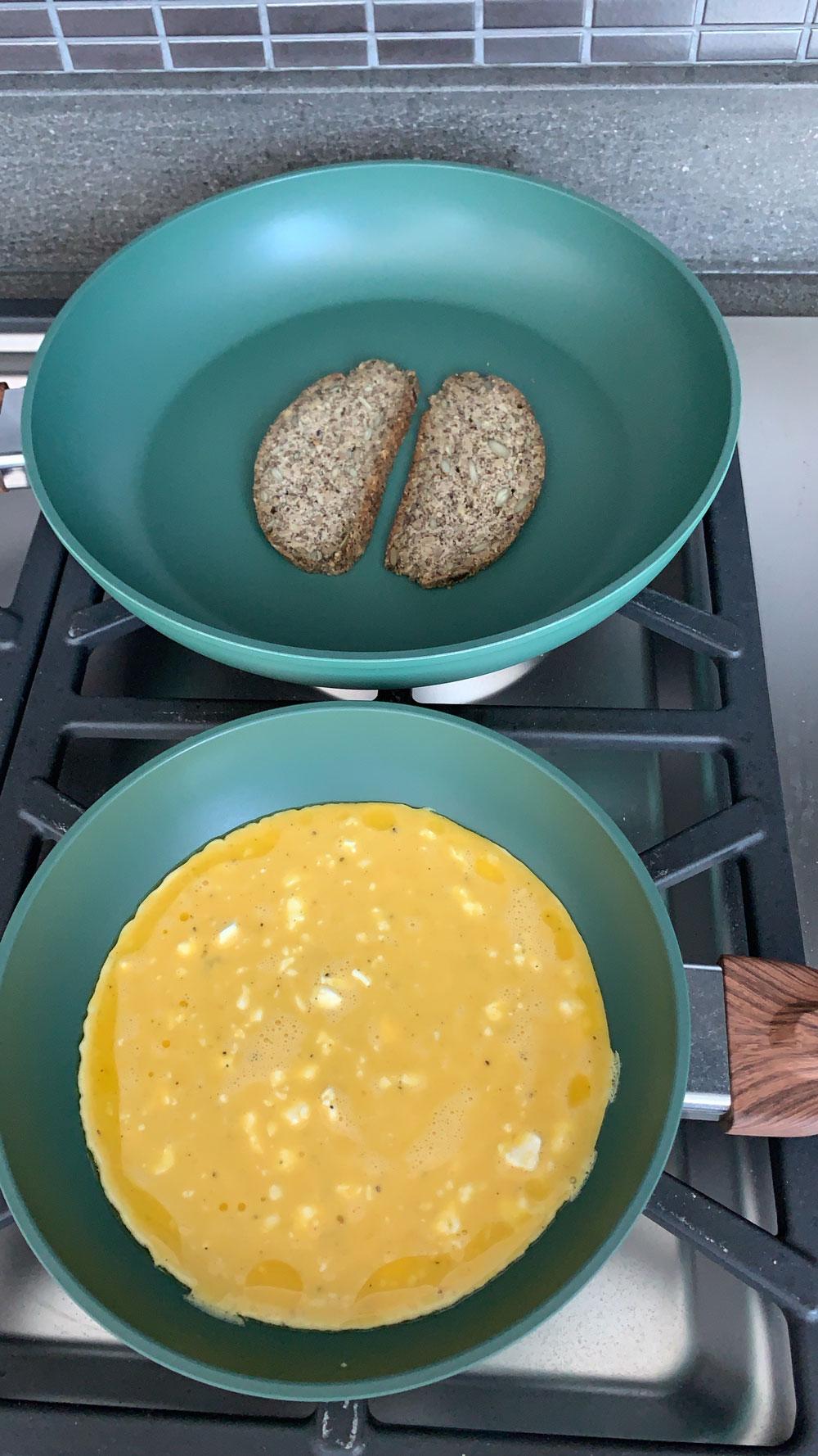 scrambled, eggs, toast, breakfast
