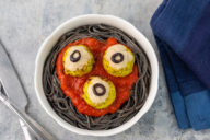spookymeatballs, halloween, zombie eyes, spaghetti, kid friendly, diary free