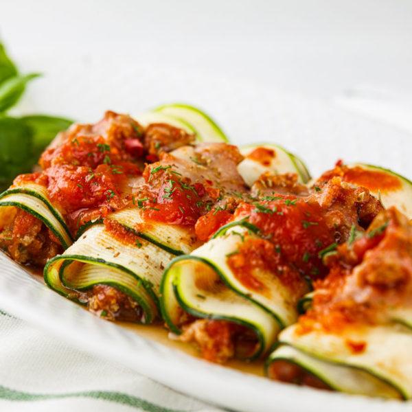 zucchini rolls, lasagna, low carb, beef