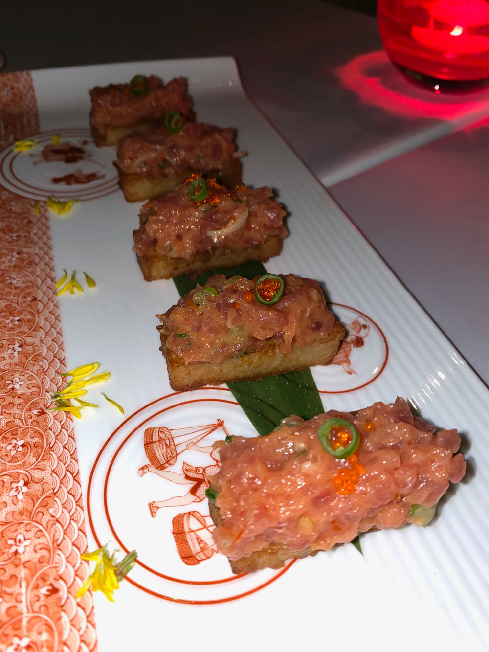 tuna, rice, spicy tuna, crispy rice, japanese, restaurant, india