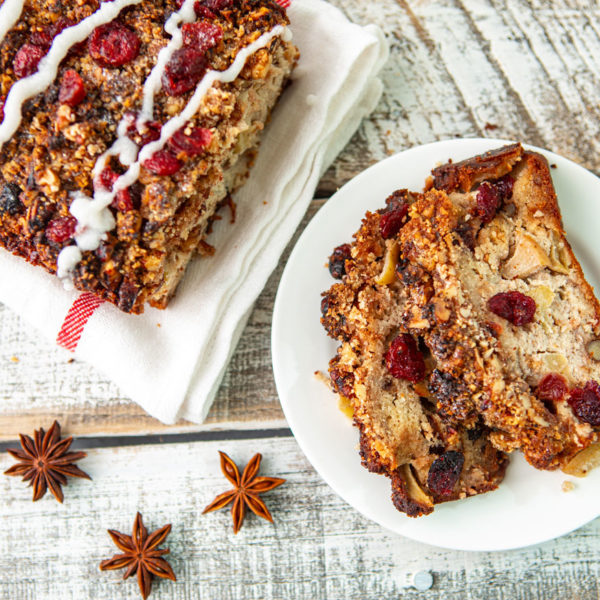 apple, bread, cinnamon, walnuts, cranberries, holidays, christmas, dairy free