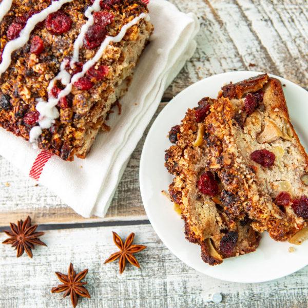 apple, bread, cinnamon, walnuts, cranberries, holidays, christmas, dairy free