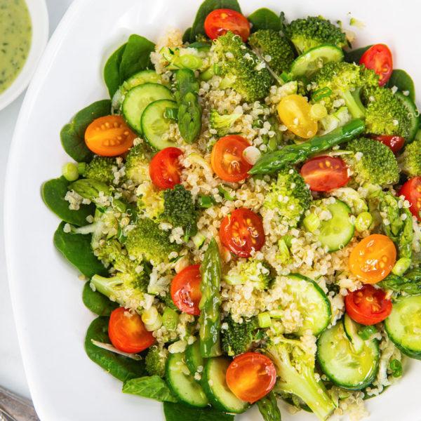 quinoa, salad, vegan, broccoli, asparagus