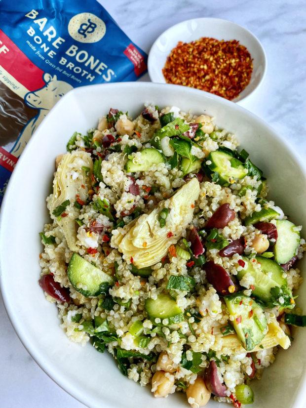 quinoa, artichoke, salad, chickpea, protein, vegan