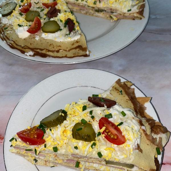 crepe, cake, savory, egg thins, low carb