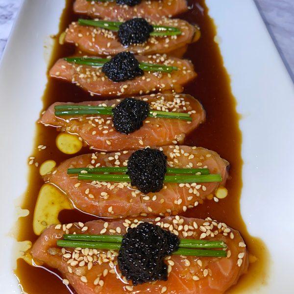 salmon, sashimi, nobu, seafood, low carb, raw, gluten free