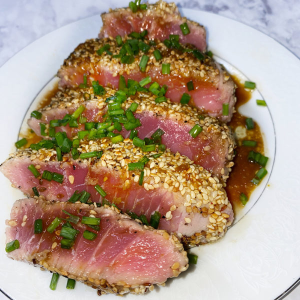 tuna, seafood, rare, raw, fish, gluten free, japanese, tataki, steak, protein, wasabi, sesame, low carb