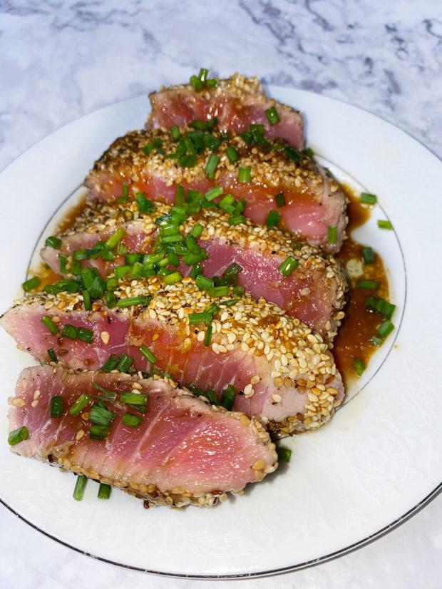 tuna, seafood, rare, raw, fish, gluten free, japanese, tataki, steak, protein, wasabi, sesame, low carb