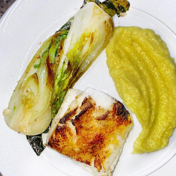 seabass, seafood, miso, bok choy, wasabi