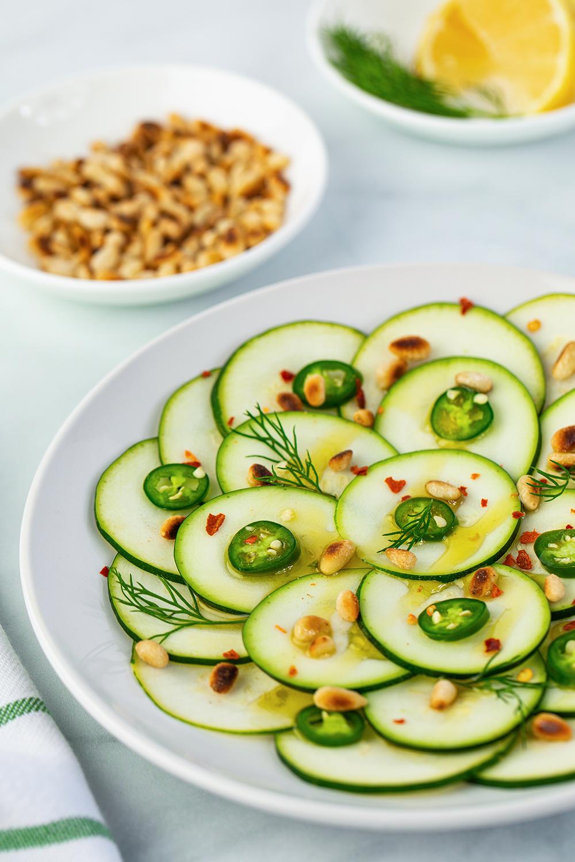 zucchini, carpaccio, vegan, plant based, low carb